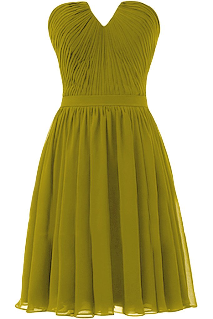 Ivydressing Simple Short V-neck Party Cocktail Gowns Ruched Bridesmaid Dresses-20W-Kelly
