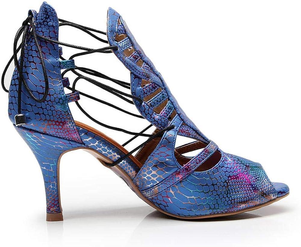 JINGXINSTORE Bandouli/ère en Croix pour Femmes en Cuir Chaussures de Danse Latine