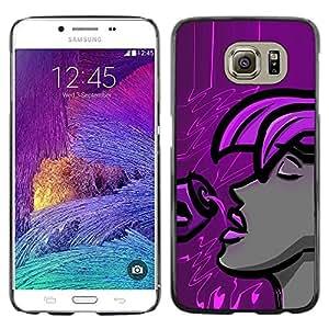 LECELL -- Funda protectora / Cubierta / Piel For Samsung Galaxy S6 SM-G920 -- Purple Woman --