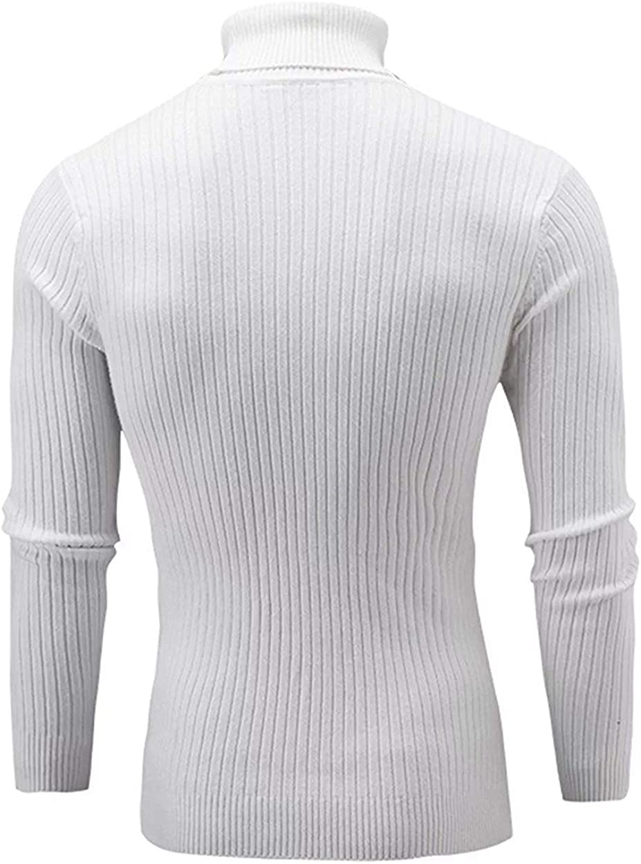 QZH.DUAO Cameinic Mens Casual Slim Fit Turtleneck Pullover Sweaters with Twist Patterned & Long Sleeve T-Shirt