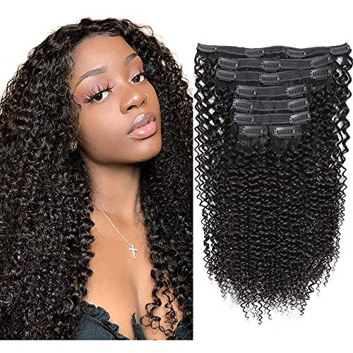 8A Kinkys Curly Clip ins Double Weft Thick Clip in Human Hair Extensions 3C 4A Type Real Remy Hair 8Pcs/Set with 18 Clips Natural Color 120 Gram 20 Inch