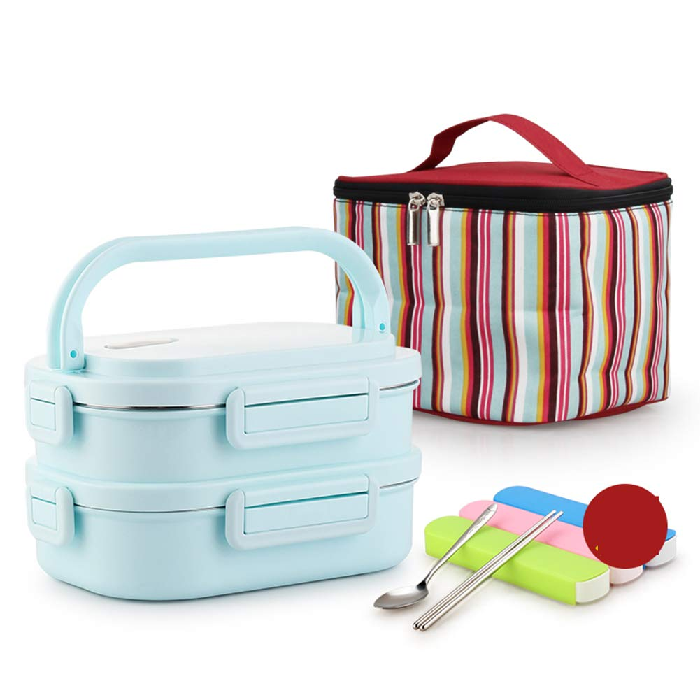 Portable Picnic Box, Separate Stainless Steel Double Insulated Lunch Box for Office Workers, Students, Outdoor Picnics, Etc, with Storage Bag by LTLSF