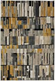 Mohawk Home Muse Bacchus Mustard Geometric Woven Area Rug, 8'x11′, Yellow and Gray For Sale