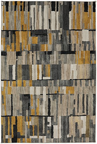 Woven Rug Mustard (Mohawk Home Muse Bacchus Mustard Geometric Woven Area Rug, 5'3x7'10, Yellow and Gray)