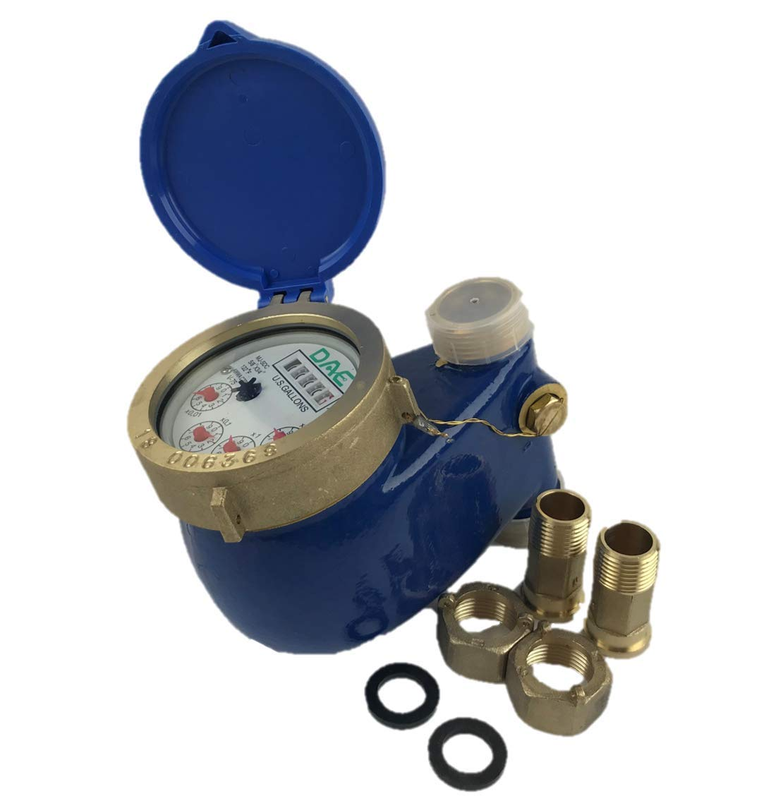 "DAE V-75 Vertical Water Meter, 3/4"" NPT Couplings, Measuring in Gallons"