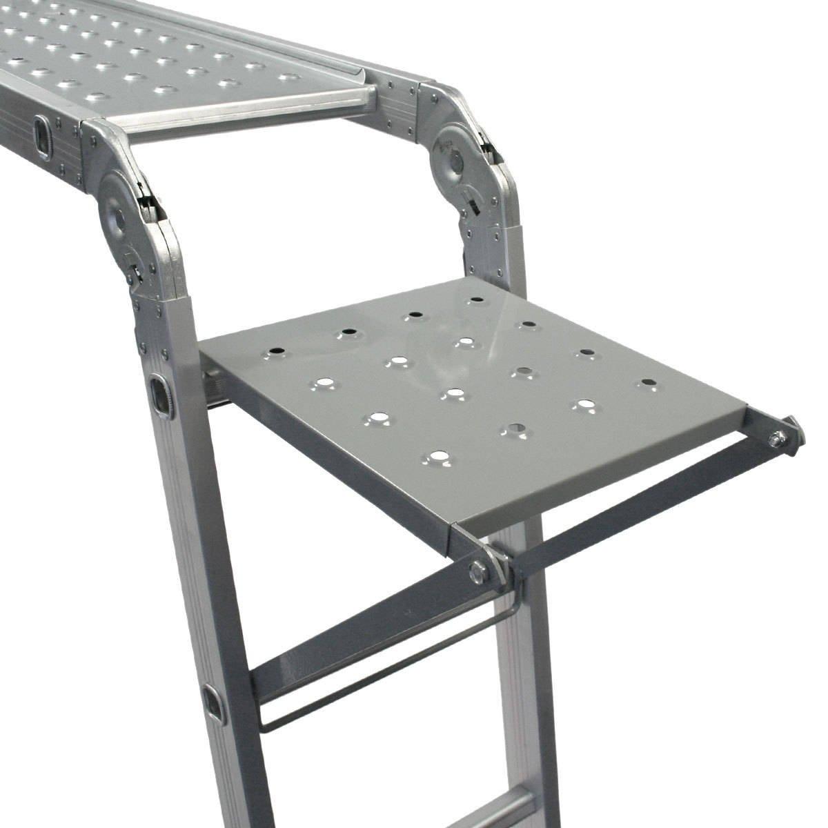 Keraiz 14-in-1 Klappleiter hergestellt nach EN131 Teil 1 und 2 Spezifikationen 4,7 m mit 2 Ger/üst-Arbeitsplatten und 1 Werkzeugablage