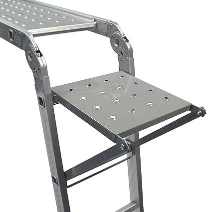 Keraiz 14 en 1 (15.5 pies) 4,7 m plegable Multi escalera con 2 placas de trabajo de andamio y 1 bandeja de herramientas fabricado según las especificaciones EN131 parte 1 y 2: Amazon.es: Bricolaje y herramientas