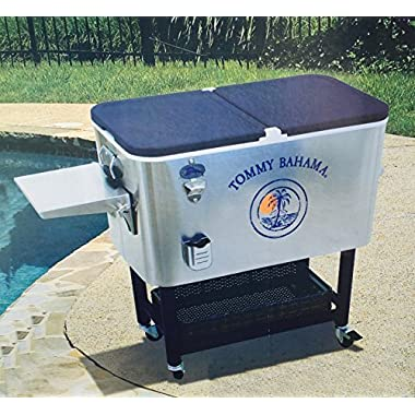 Tommy Bahama 100 Qt Stainless Steel Rolling Party Cooler Patio Beach Portable Ice Cooler With Wheels With Portable Tray 130 Can Capacity