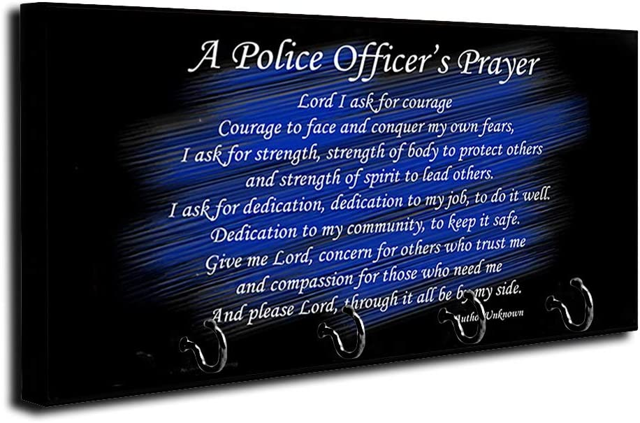Brotherhood Thin Blue Line A Police Officer's Prayer Key Holder Organizer Wall Mount Rack for Holders The Home Keys Ring Decorative Hangers Decor Hook Hanger