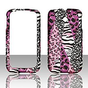 2D Pink Safari Huawei Ascend II 2 M865 / Prism Cricket, U.S. Cellular, T-Mobile Hard Case Snap-on Rubberized Touch Case Cover Faceplates
