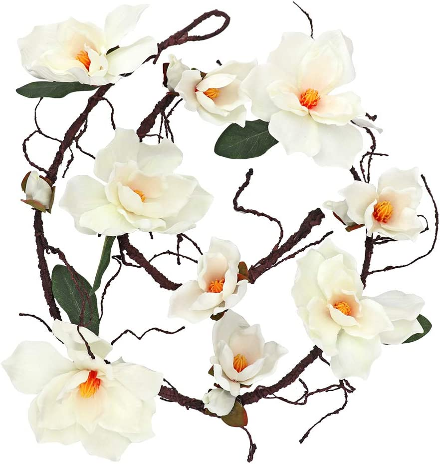 LSME 6.1Ft Artificial Magnolia Flower Garland,Hanging Vine with White Magnolia Flower for Wedding Arch Wall Backdrop Home Garden Decoration