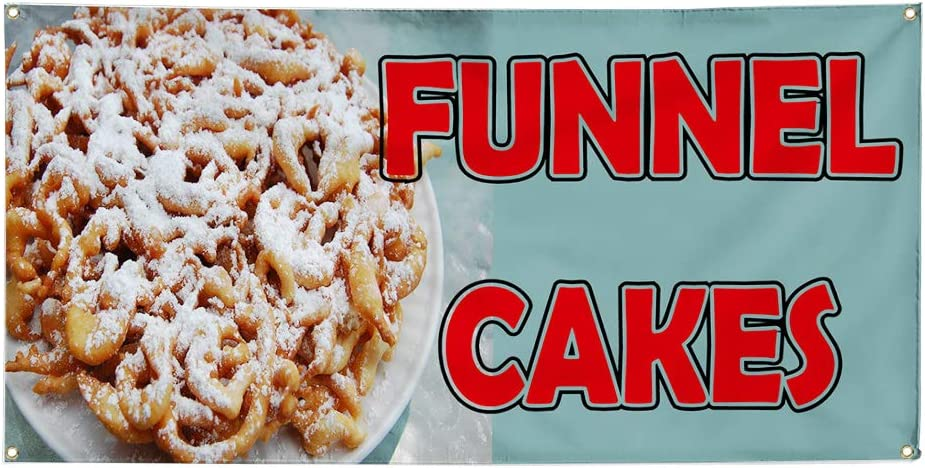 Custom Industrial Vinyl Banner Multiple Sizes Funnel Cakes Style B Personalized Text Here Funny and Novelty Outdoor Weatherproof Yard Signs Pink 4 Grommets 24x60Inches