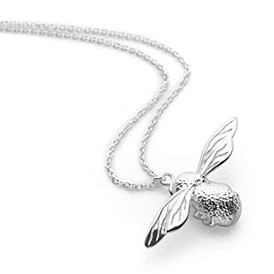 sterling s jewelry is bee image loading charm new honey necklace bumblebee itm silver queen