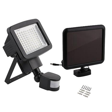 1 pieza Projector solares 100 LED con sensor de movimiento luz blanco frío 6000 K lámpara