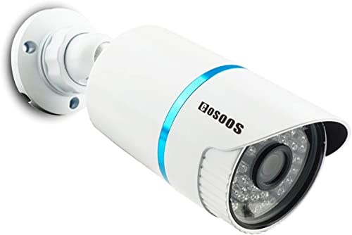 COSOOS 1080P Bullet Security Camera, 2.0 Megapixel Hybrid 4-in-1 HD-TVI CVI AHD CVBS Waterproof Outdoor Indoor Surveillance Camera, 3.6mm Lens 48 LED 130ft Night Vision, Metal Housing Silver