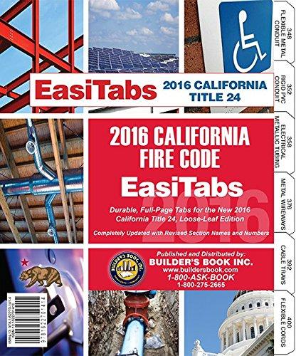 2016 California Fire Code, Title 24 Part 9. Loose-leaf EasiTabs