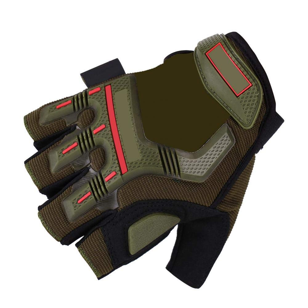 L-verde militare 1 paio guanti mezze dita Guanti moto da corsa Guanti da ciclismo Guanti traspiranti protettivi Motorcross Outdoor Sports