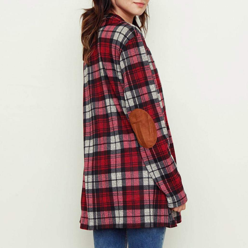 Spbamboo Womens Cardigan Lady Plaid Print Jacket Casual Long Sleeve Coat Outwear by Spbamboo (Image #2)