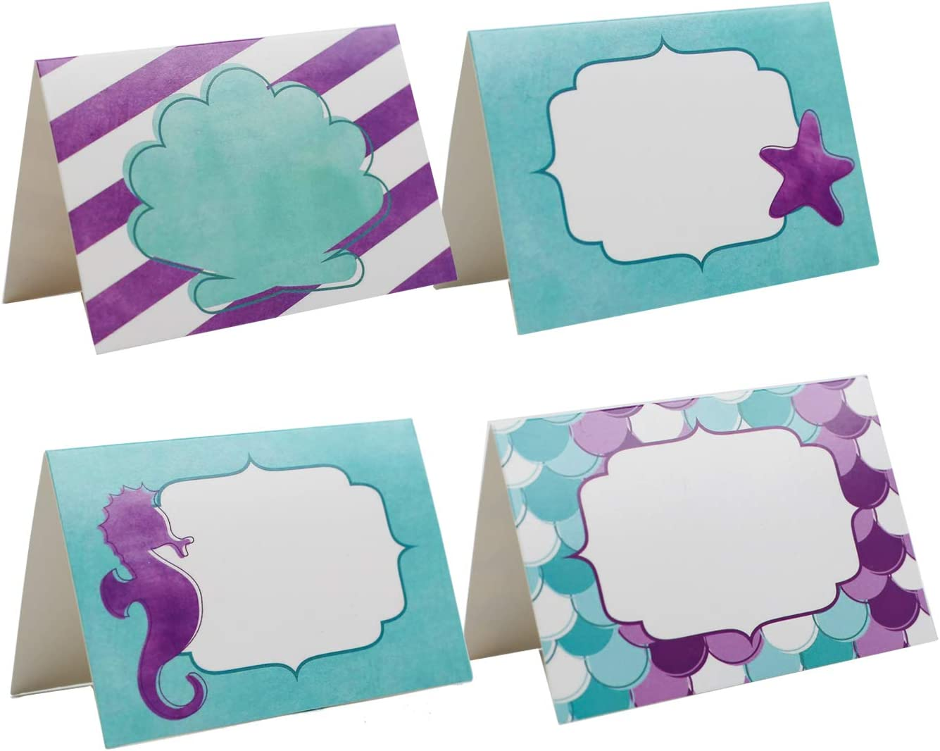 Mermaid party Place Cards - Under the Sea Party Supplies Food Tents and Food Labels Decorations, Mermaid Baby Shower Party Supplies