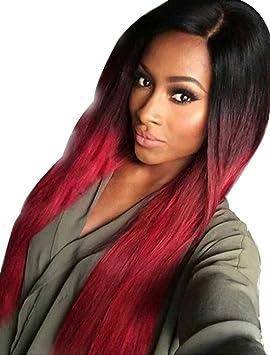Tsnomore negro de la moda peluca sintética recta larga roja
