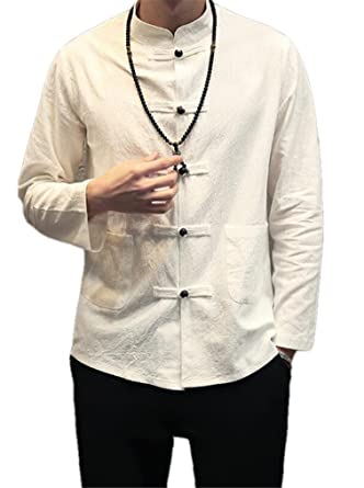 b61e45c39 Cafuny Mens Vintage Long Sleeve Stand Collar Casual Frog Button Linen Shirts  - White -: Amazon.co.uk: Clothing