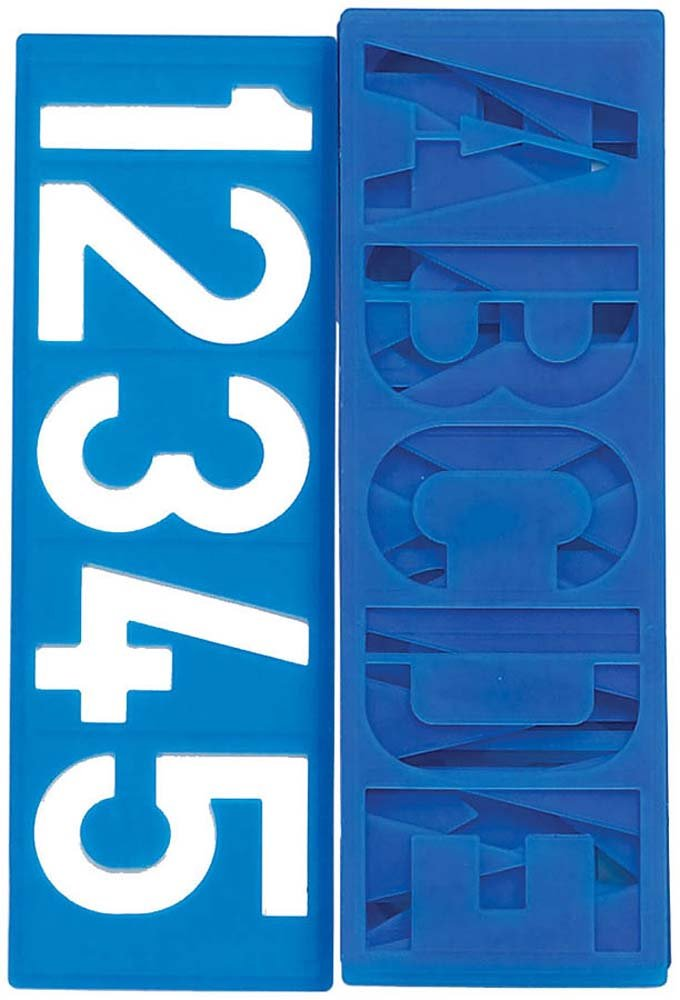 ToolUSA 8 Piece Stencils For 4 Inch Letters, Numbers, And Punctuation Symbols: CR-71027