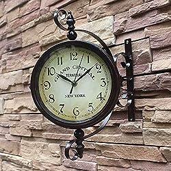 Double-sided wall clock/retro iron creative living room wall clock ,a,453515cm mute