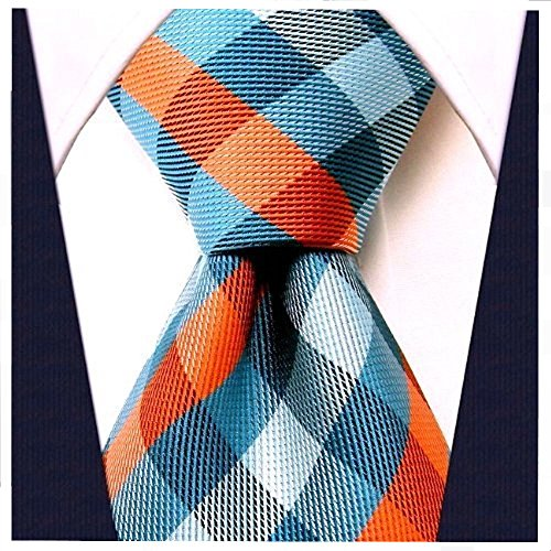 Gingham Plaid Ties for Men - Woven Necktie - Turquoise and (Plaid Mens Neck Tie)