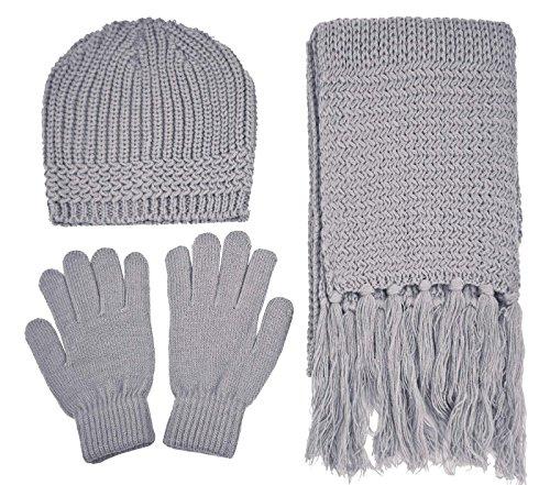 (Women's 3 Piece Winter Knitted Beanie Hat Gloves&Scarf Set,Grey)