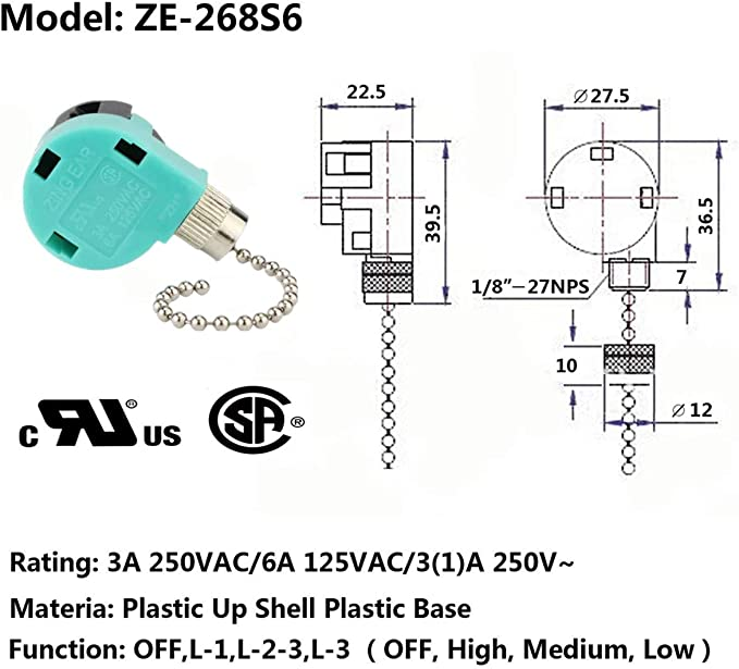 Ceiling Fan Switch 3 Speed 4 Wire Zing Ear Ze 268s6 Pull Chain Switch Control Replacement 3 Speed Control Switch Ceiling Fans Wall Lamps Cabinet Light Amazon Ca Tools Home Improvement
