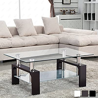VIRREA Rectangular Glass Coffee Table Shelf Wood Living Room Furniture Chrome Base