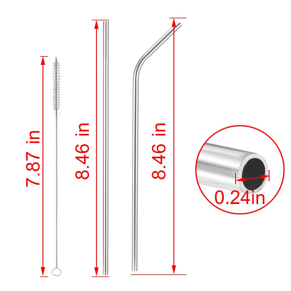 Set of 8 Stainless Steel Straws, Alotpower FDA-Approved Long Drinking Metal Straws For 20oz Stainless Tumblers Rumblers Cold Beverage (4 Straight + 4 Bent + 2 Brushes)