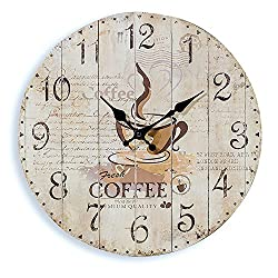 The Fresh Coffee Analog Wall Clock for Coffee Lovers, Metal, Quartz Movement, Antique Café Style, 11 ¾ Diameter, Battery Powered By Whole House Worlds