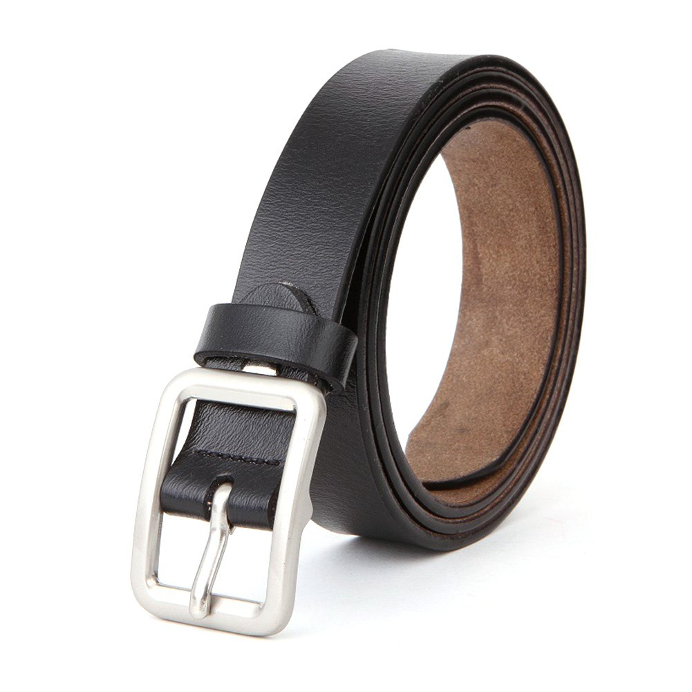 HaloVa Women's Belt, Leather Belt with Metal Pin Buckle, Black, 45 Inches