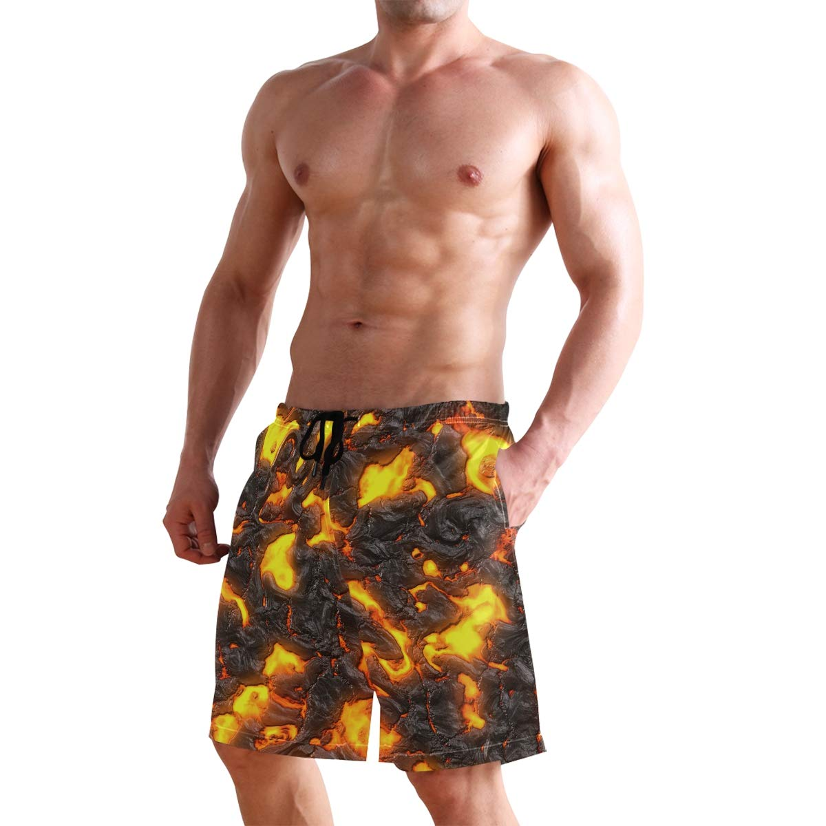 Casual Mens Swim Trunks Breathable Quick Dry Printed Beach Shorts Lava Summer Boardshorts with Mesh Lining