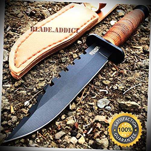 9'' Survival Fixed Blade Hunting Knife Bowie Army Camping Sheath - Outdoor For Camping Hunting -