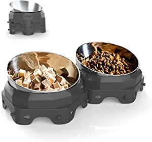 Outgogo Elevated Cat Bowls Small Dogs Bowls, Cat Food and Water Bowl, Stainless Steel Dog Bowls with Stand, Tilted & Raised Angled Cat Bowl, Stackable & Removable Pet Feeder for Travel, 2 Pack (Grey)