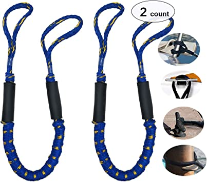 3.5/' Marine Boat Bungee Dock Lines With Double Loop to use with Dock Cleat