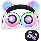 iGeeKid Kids Headphones Bear Ear-Inspired USB Rechargeable LED Backlight,Wired On/Over Ear Gaming Headsets 85dB Volume Limited for Girls,Boys,Compatible for Kids Tablet,iPad,iPhone,Android,PC(White)