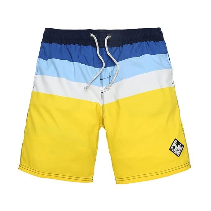 GWELL Herren Top Qualität Schnelltrocknend Badeshorts Streifen Beachshorts  Badehose Sommer Strand gelb L