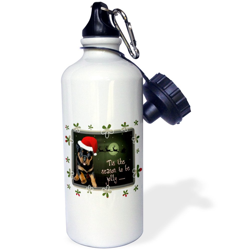 White 3dRose wb/_128293/_1Tis The Season A running rottweiler puppy wearing Christmas apparel and being jolly Sports Water Bottle 21 oz