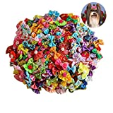Yagopet Pet 50pcs in Pairs Dog Hair Bows with Rubber Bands Rhinestone Pearls Bows Bowknot Bows Dog Topknot Bows Cute Dog Pet Hair Clips Cute Dog Hair Bows Pet Grooming Products Dog Hair Bows Topknot