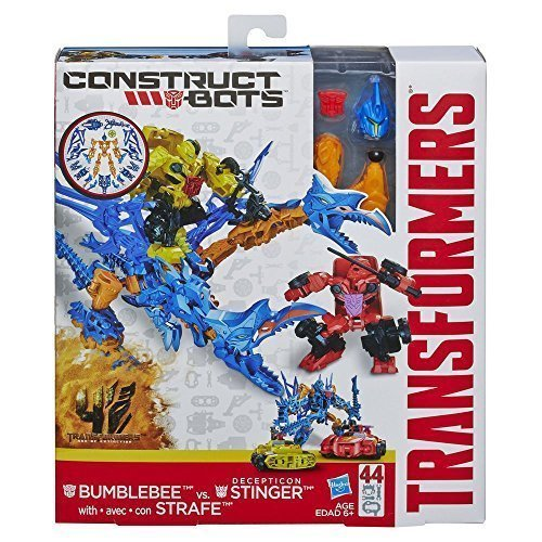 Transformers Age of Extinction Construct-Bots BUMBLEBEE with STRAFE vs. DECEPTICON STINGER Buildable Action Figures by (Transformers Age Of Extinction Bumblebee Toy)