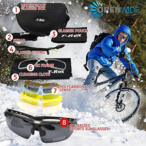 Cycling Sunglasses by OpenWide. Polarized, 4 Lenses + Hard Case + Lens Cleaner + RX Prescription Adapter. Sports Sunglasses for Men & Women, Perfect for Baseball, Running, Water Sports, Fishing, - Glasses Baseball For Prescription