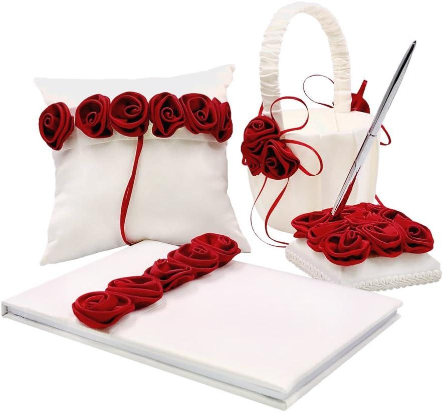 Wedding Light Gray Hot Pink  Flower Girl Basket Ring Pillow Guest Book Card Box
