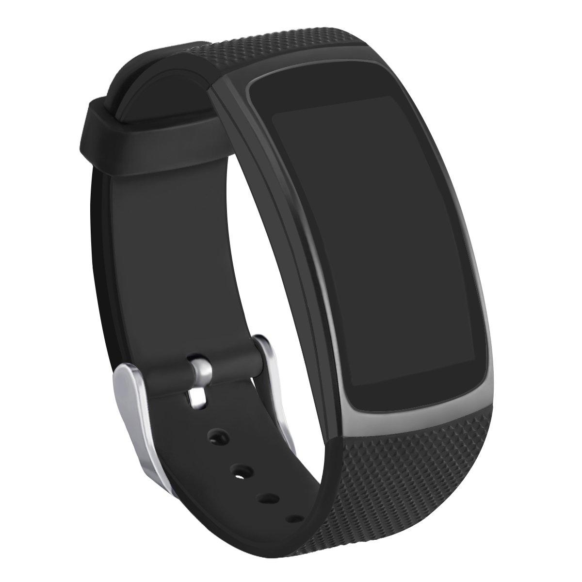 Kmasic Gear Fit2 Pro / Fit2 Bands, Correa de Repuesto de Silicona para Samsung Gear Fit 2 y 2 Pro Tracker (Negro)