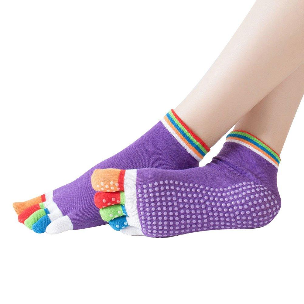 Ouvin 3/Paar Colorful Full Fu/ß Rutschfeste Baumwolle Yoga Socken f/ür Ballett Yoga Barre Pilates