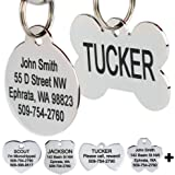 GoTags Stainless Steel Pet ID Tags, Personalized Dog Tags and Cat Tags, up to 8 Lines of Custom Text, Engraved on Both Sides,