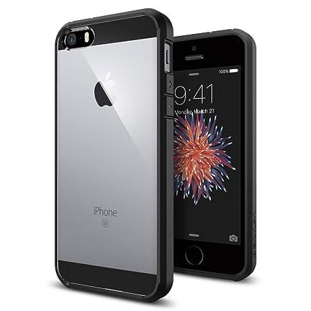iPhone SE Hülle, Spigen® iPhone 5S/5/SE Hülle [Ultra Hybrid] Luftpolster-Technologie [Schwarz] Durchsichtige Rückschale und T