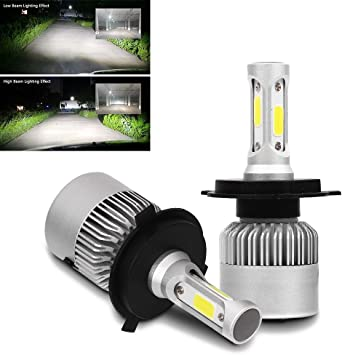Sodial 2 X S2 H4 72w 8000lm Cree Led Headlight Car Hi Lo Beam Auto Bulbs 6000k White Amazon Co Uk Car Motorbike